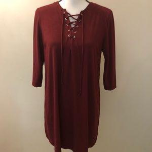 Rokoko long sleeve maroon dress
